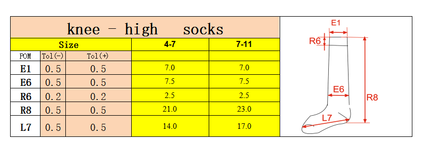 KNEE HIGH SOCKS SIZE SPECIFICATION