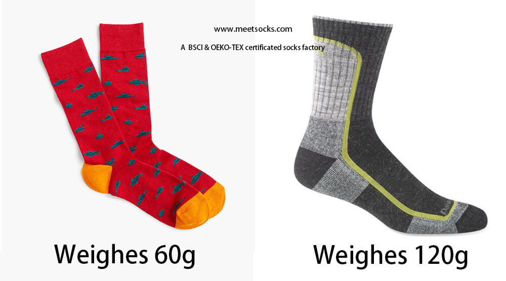 the weight of a pair of socks