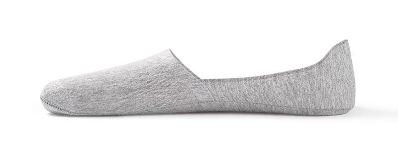 Anti-slip boat sock custom no-show socks men-grey-side-view