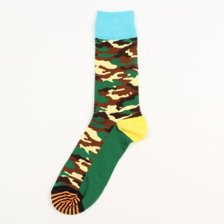 Camouflage private label knee-high socks-light blue
