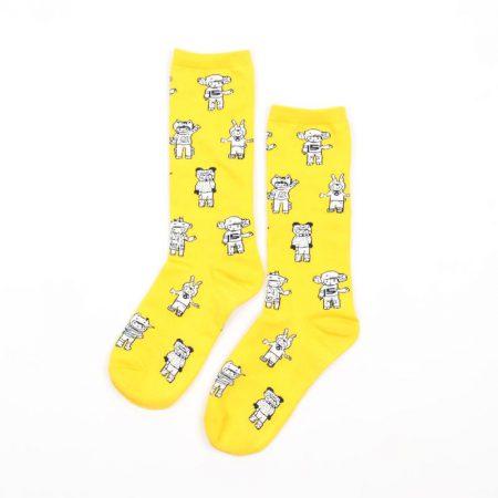 Carton fancy custom knee-high socks unisex-baby winter