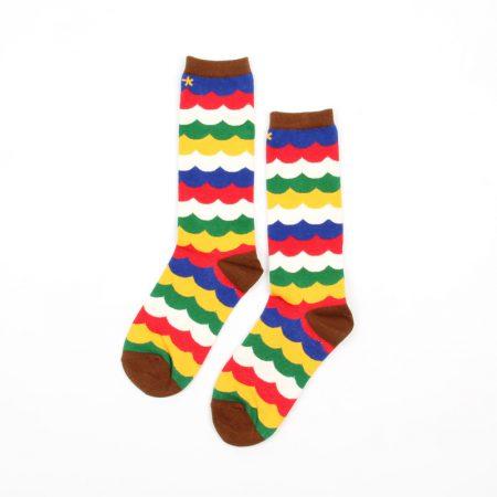 Carton fancy custom knee-high socks unisex-color stripes