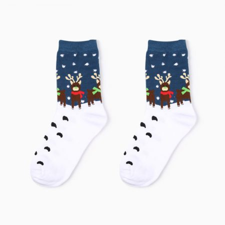 Christmas season custom crew socks snowman-deer-night