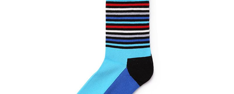 Classical stripe private label dress socks men-blue