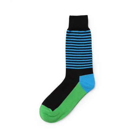 Classical stripe private label dress socks men-green