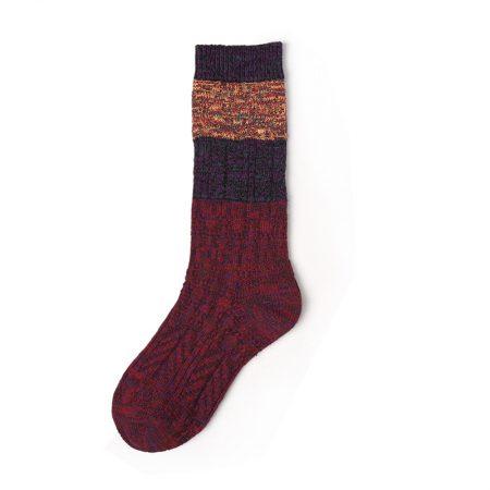 Custom knee-high socks women thick yarn knitted-stitching-yellow-red