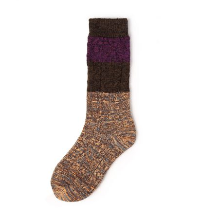 Custom knee-high socks women thick yarn knitted-yellow brown