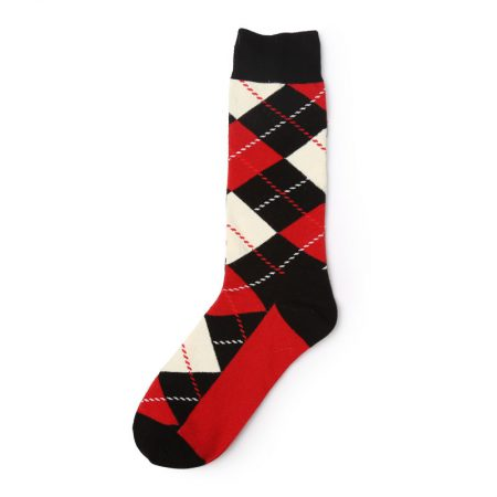 Diamonds and lines private label knee-high socks men-red-black