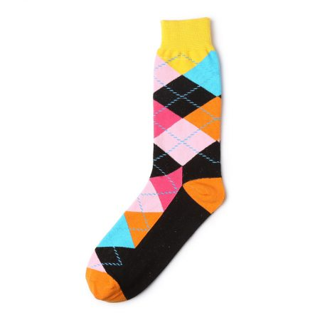 Diamonds and lines private label knee-high socks men-yellow-orange