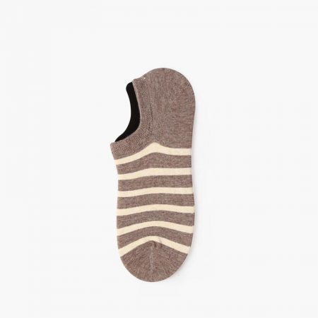 Elegant classical invisible custom no-show socks-white brown
