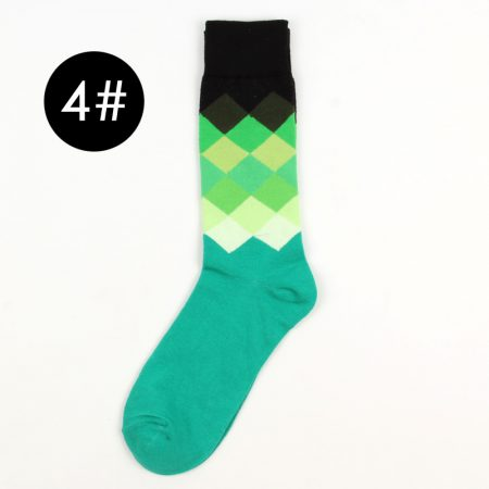 England style color blocks custom dress socks-green-black