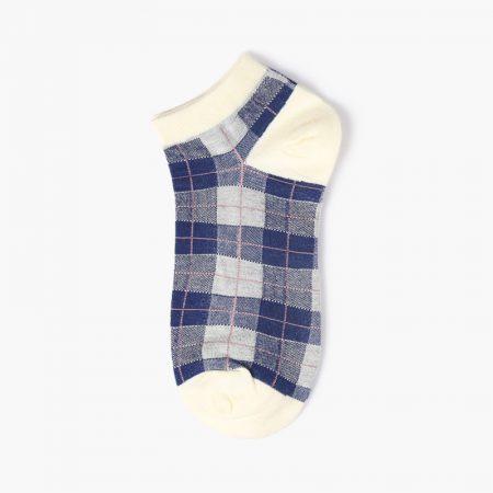Grid classical england style custom ankle socks-blue