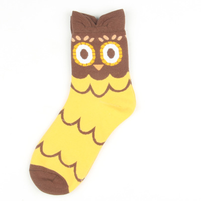 Owl series custom design crew socks cute-astonished yellow