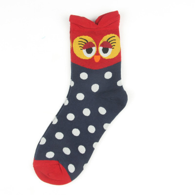 Owl series custom design crew socks cute-series red