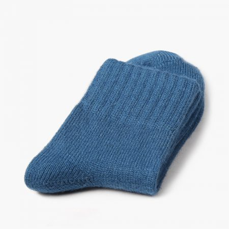 Private label dress socks basic socks rabbit wool-blue