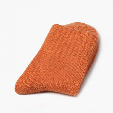 Private label dress socks basic socks rabbit wool-orange