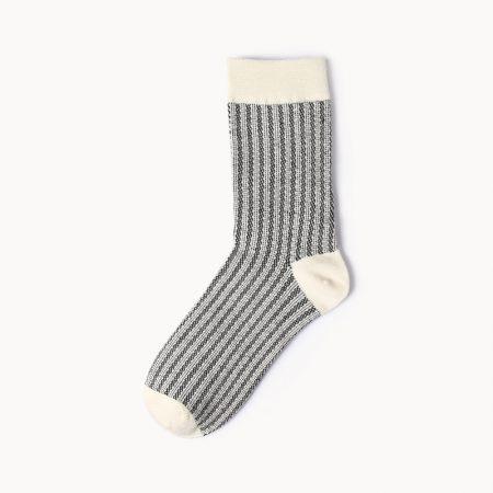 Private label dress socks girl stripe patterns-blackk