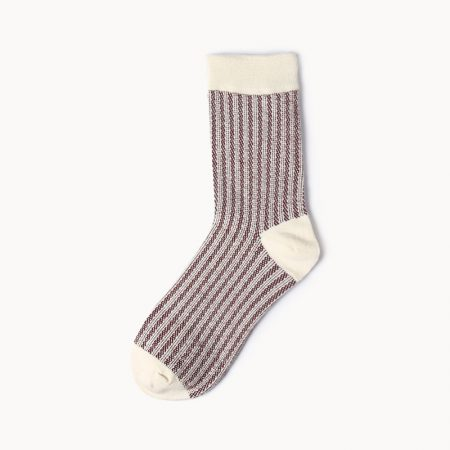 Private label dress socks girl stripe patterns-brown
