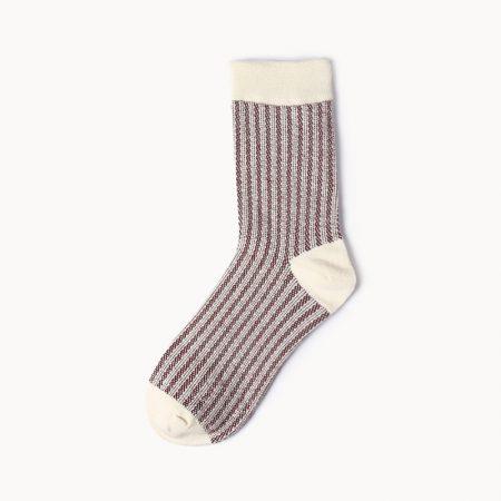 Private label dress socks girl stripe patterns-brown