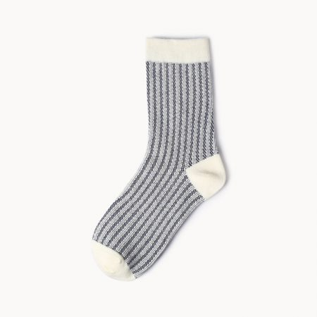 Private label dress socks girl stripe patterns-light black