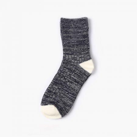 Private label dress socks stripe socks thick yarn girl-black
