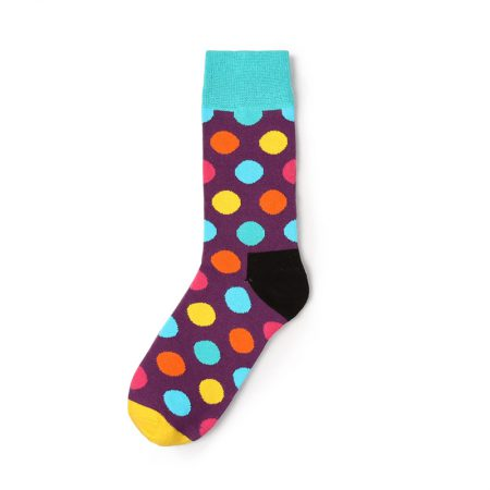 Private label knee-high socks unisex colorful dots in brown canvas