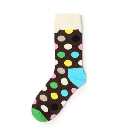 Private label knee-high socks unisex colorful dots-white and blue dots