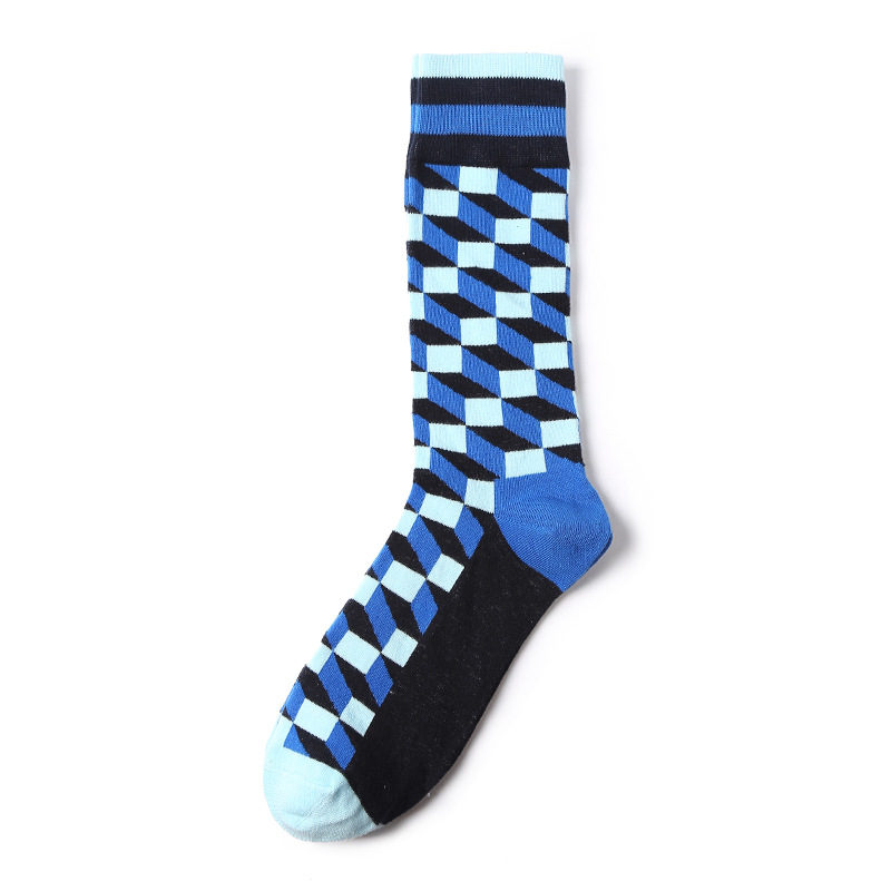 Stair Blocks England Style Custom Knee High Socks Men Blue