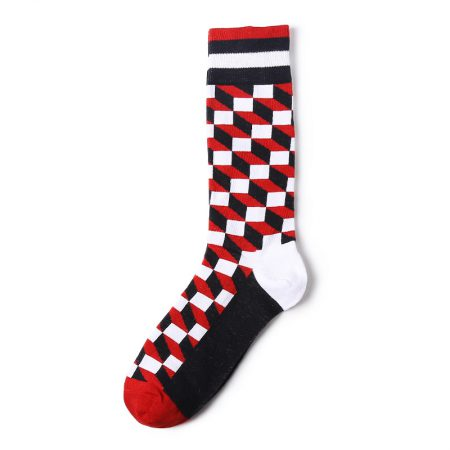 Stair blocks england style custom knee-high socks men-red