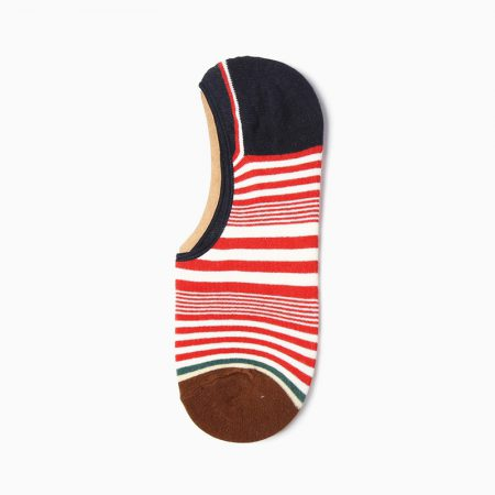 Stripes Invisible private label no-show socks unisex-black