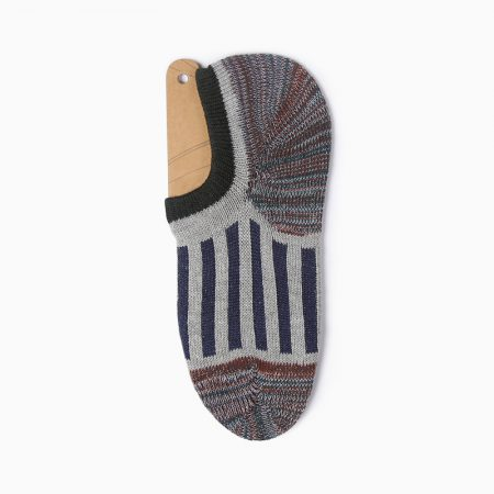 Thick yarn stripe private label no-show socks-grey