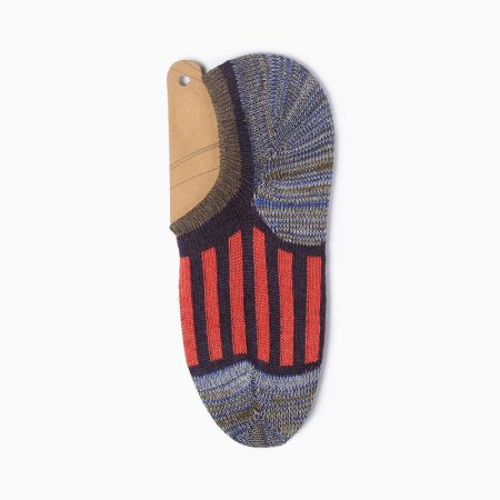 Thick yarn stripe private label no-show socks-red line