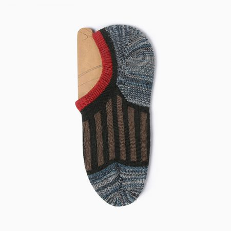 Thick yarn stripe private label no-show socks-red-wine-line