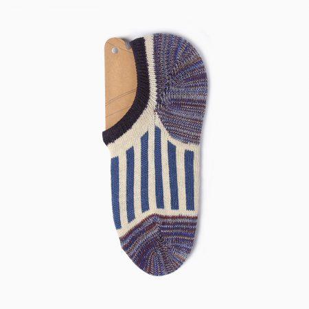 Thick yarn stripe private label no-show socks-white line