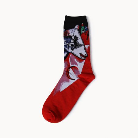 beloved oil-painting custom dress socks men-cow head