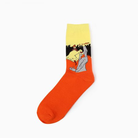 beloved oil-painting custom dress socks men-organge