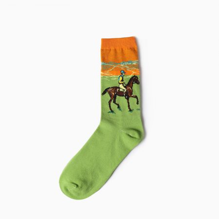 beloved oil-painting custom dress socks men-rider on the grass