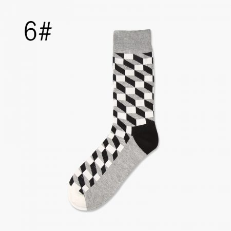 colorful cube custom dress socks men-black white