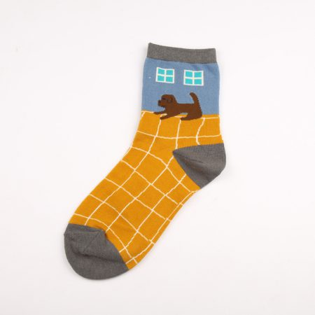 illustration home private label crew socks-dog