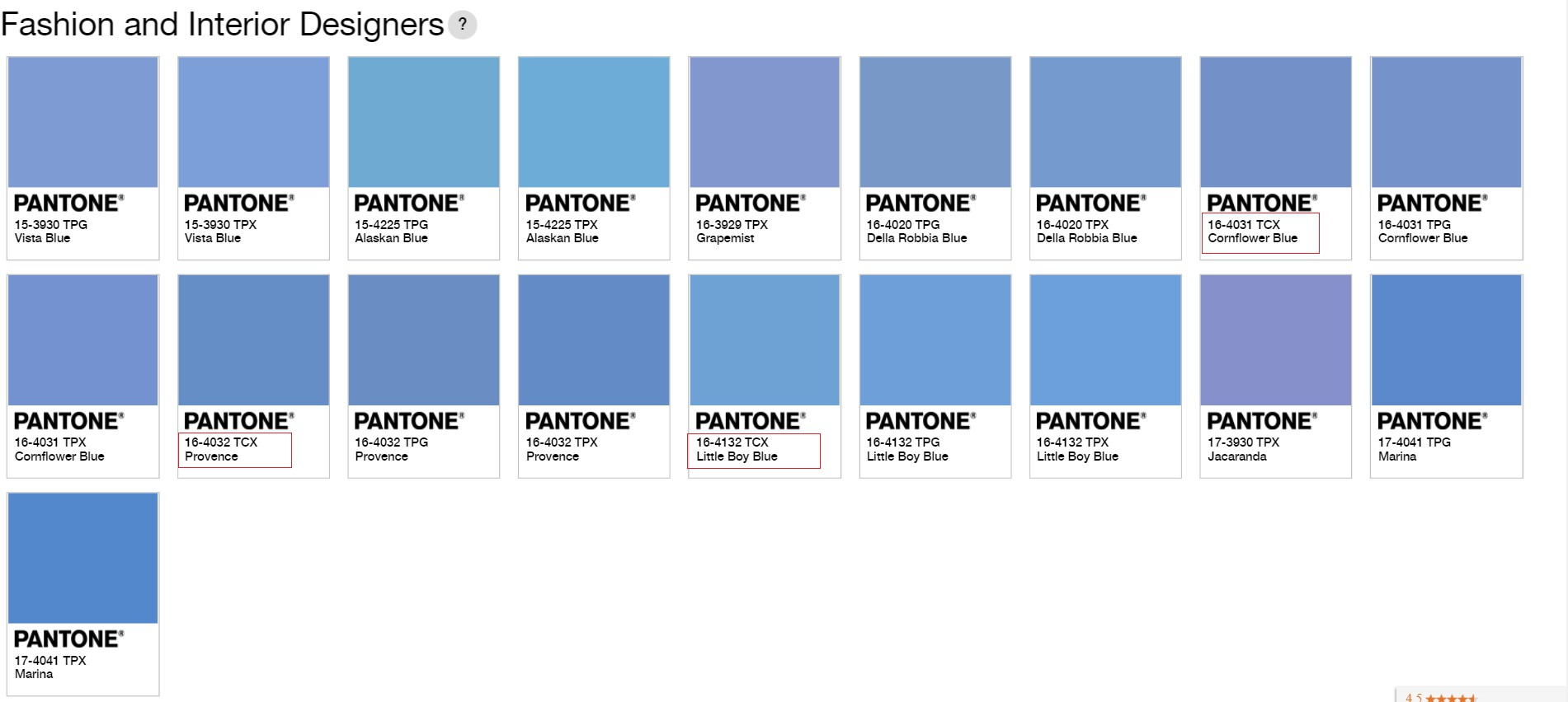Match pantone tcx colors in the results page