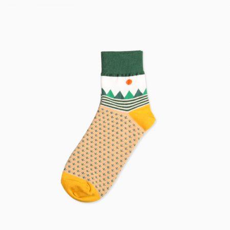 mountain custom crew socks unisex-mountains and grass
