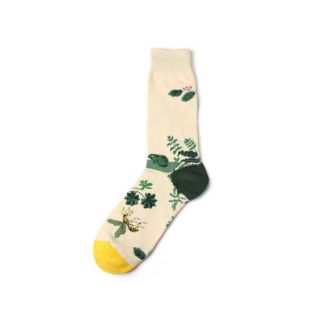 nature custom dress socks-bees plants