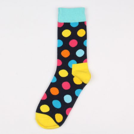 round blocks custom dress socks unisex-black blue