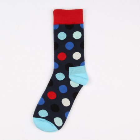 round blocks custom dress socks unisex-black red