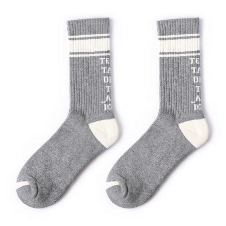 stripe sock private label terry sports socks men-grey