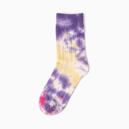 stripe tie dye custom dress socks-purple