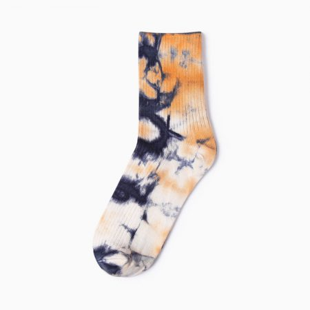 tie dye private label dress socks -orange black